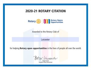 Rotary Citations are awarded by Rotary International to selected Rotary Clubs for achieving goals that strengthen Rotary and the club.
